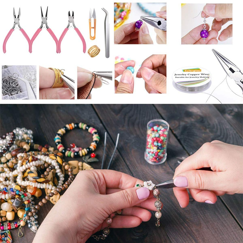 Jewelry Making Supplies Kit Jewelry Making Tools Kit Includes Beads Wire for Bracelet and Pearl Beads Spacer Beads Jewelry Plier 4