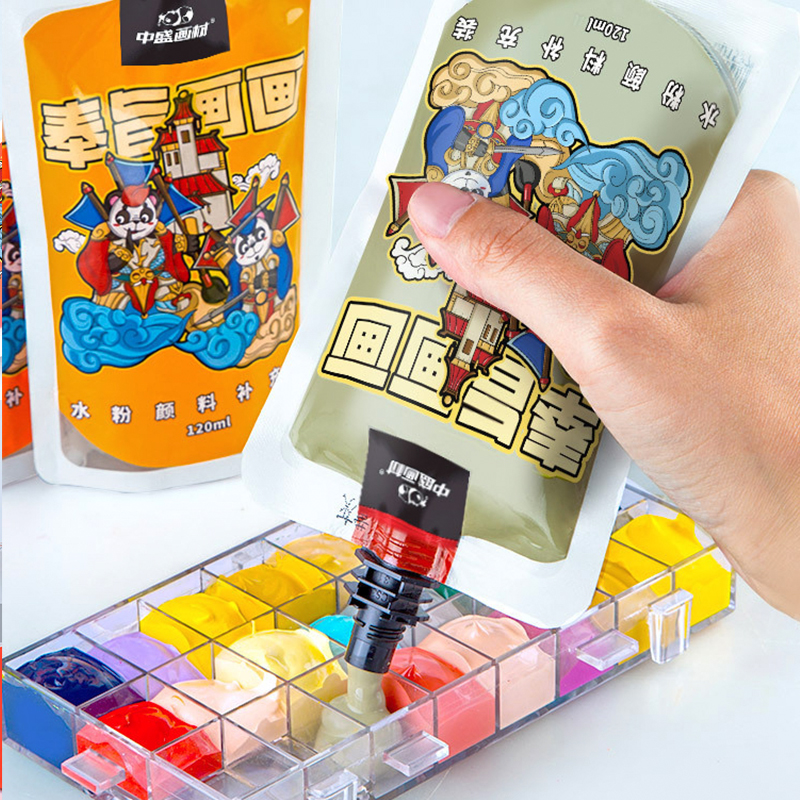 120ML Gouache Paint Simple Bag Hand-painted Graffiti Advertising Color Paint Art Supplies High Capacity Draw Paint For Students