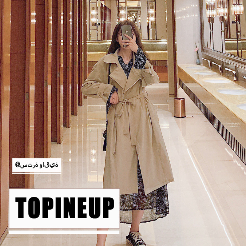 Spring/Autumn Fashion Loose Long Thin Women Casual   Trench   Coat Solid Color Thin Turn-Down Collar Female Windbreaker With Belt
