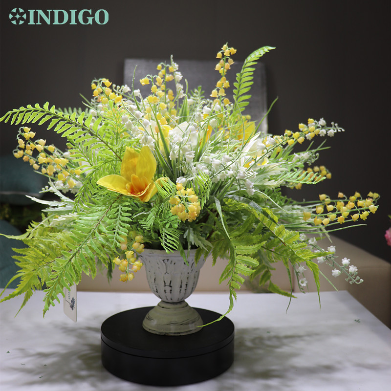 INDIGO conçu-1 ensemble Convallaria jaune Cymbidium Arrangement de fleurs bonsaï Bouquet maison Table centre de Table cadeau livraison gratuite