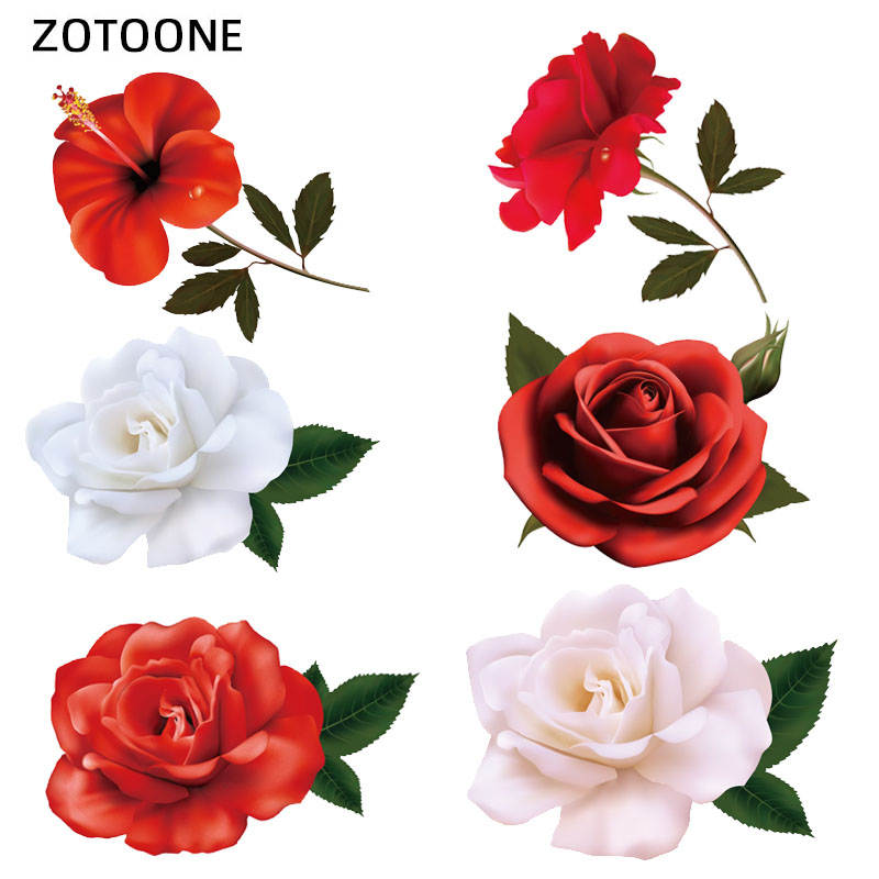 Stickers Iron-On-Transfer Patches Application Simulation-Flowers ZOTOONE Washable Stripes