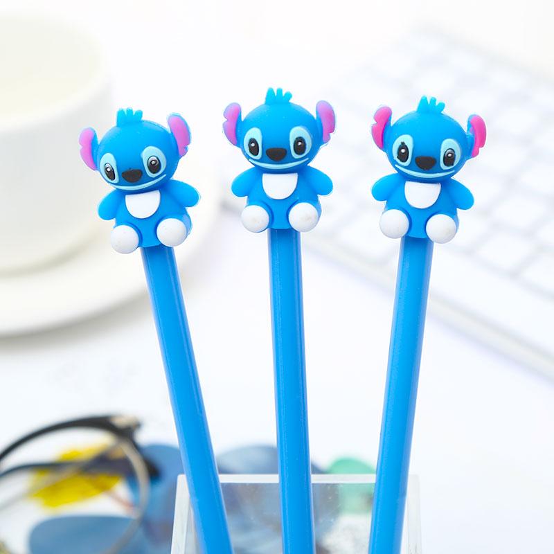 Korean Cute Kawaii Stitch Anime Gel Pens Creative School Office Stationery Kawai Animal Blue Ink Stationary Art Thing Goods Item