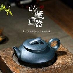 Yixing fioletowy piasek mistrz Tao Jianchun  ręcznie robiony fioletowy piasek garnek  czajniczek  czarna zielona glinka  zwykły żeglarstwo 240cc