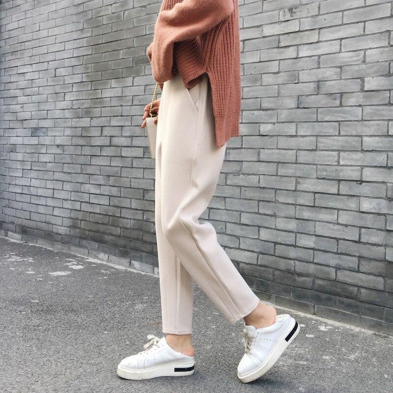 Autumn Winter Woolen Haren Pants Women Ankle Length High Waist Radish Pants Warm Fashion Black White Trouser Bottoms