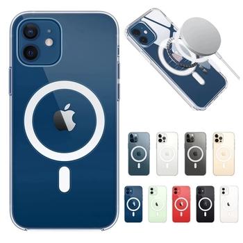 Luksusowe przezroczyste etui magnetyczne do iPhone 12 11 Pro Max Mini XR X XS Max odporna na wstrząsy pokrywa obsługuje magnetyczne ładowanie bezprzewodowe tanie i dobre opinie APPLE CN (pochodzenie) Częściowo przysłonięte etui Luxury Transparent Magnetic Case Zwykły