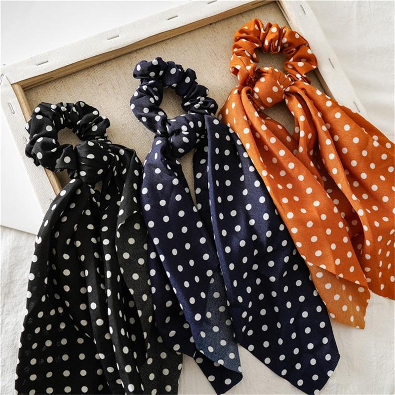 Ruoshui Dot cheveux ruban noeud cheveux cravates chouchous femme mode cheveux anneaux élastique mode cheveux accessoires cheveux corde gomme 2