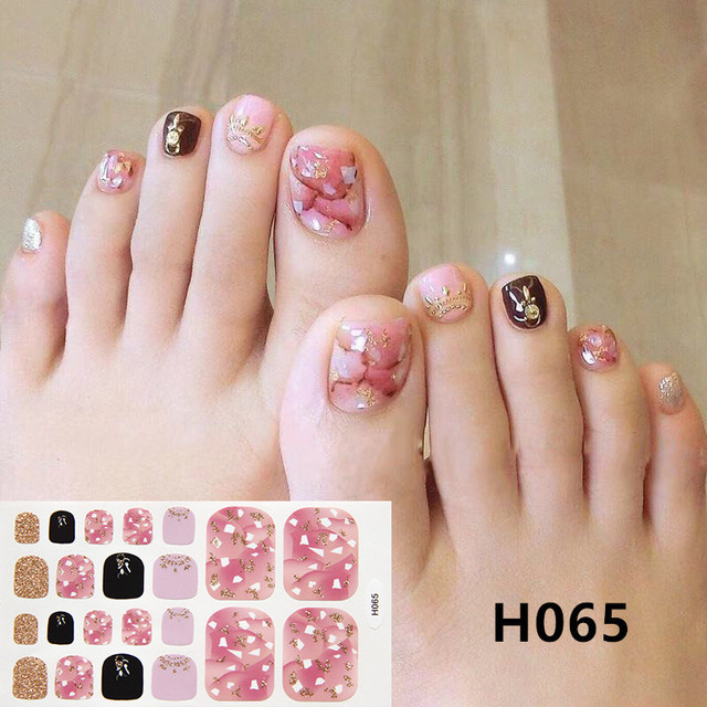 1Sheet Adhesive Toe Nail Sticker Glitter Summer Style Tips Full Cover Toe Nail Art Supplies Foot Decal for Women Girls Drop Ship