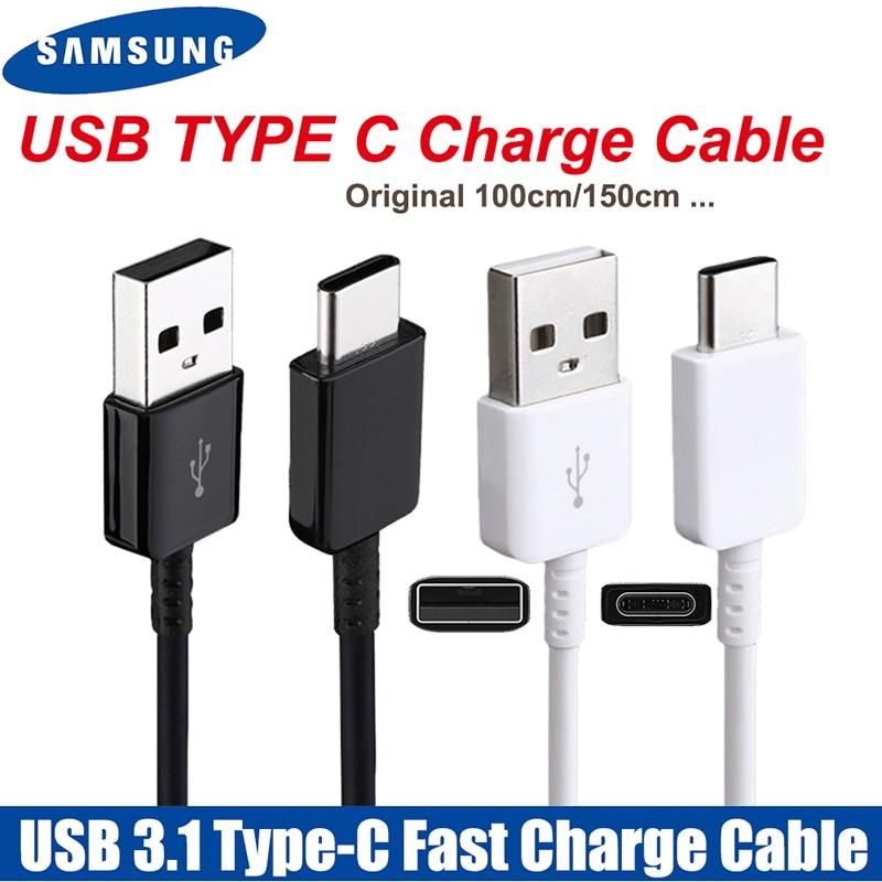 Original 100cm/150cm USB 3.1 Fast Cabo de Carregamento de Dados Para Samsung Galaxy A80 TYPE C A70 A60 A50 a40 A30 S8 S9 plus S10e Nota 8 9|Cabos flexíveis de celular|   -