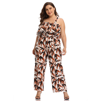 TUHAO Women Spaghetti Strap Printed Jumpsuit High Waist Wide Leg Pants Bohemian Style Loose Large Size Rompers HC289