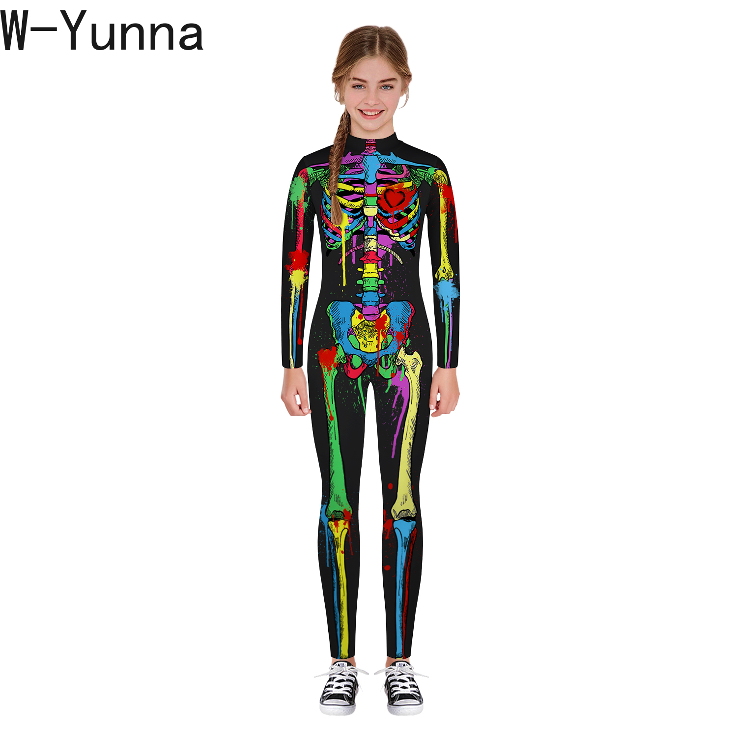 Image 5 - W Yunna 2019 Autumn Clothes Fashion Skeleton Blood Scary Costume Holloween 3d Print Full Sleeves Full Length Jumpsuits for Kids