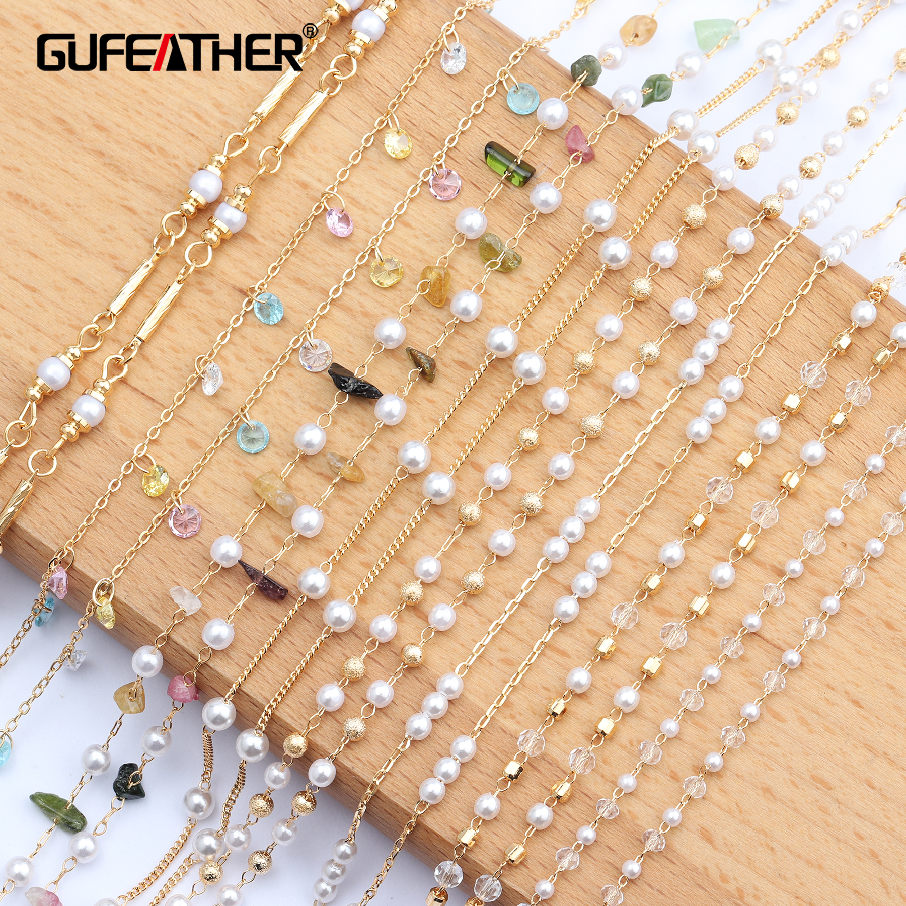 Jewelry-Accessories Necklace Copper-Chain-Beads Diy Chain Natural-Stone C63 Gold-Plated title=