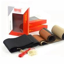 Pure Genuine Leather Car Steering Wheel Cover Soft Anti slip 100% Cowhide Braid handsewn car steering wheel sleeve 38CM