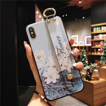 Flower Case with Finger Ring for iPhone 7 8 PLUS 6 6S 3D Relief Lotus XR XS X MAX Holder Cover