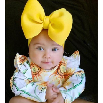 Solid Puff Bow Baby Headband Big BowKnot Nylon Hair Band For Girls Boutique Newborn Headbands Fashion Accessories