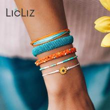 купить LicLiz Fashion 2019 New Handmade Weave Boho Rope Wrap Bracelet Set for Women 5 Colors 1 Set Braided Bracelet Pulseras LPB0497B онлайн