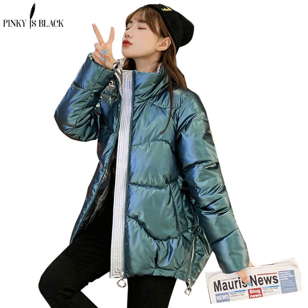PinkyIsBlack 2020 Autumn Women's Winter Coats Fashion Glossy Stand Collar Parkas Winter Jacket Women Shinny Padded Cotton Coat(China)