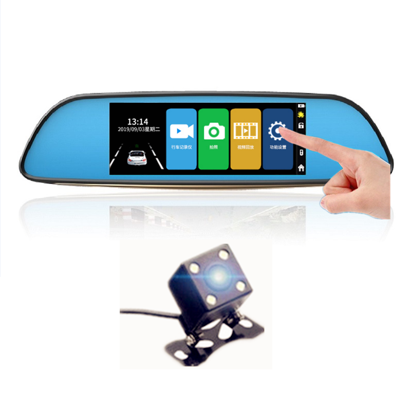 Car DVR FHD 1080P 7.0 Inch touch screen Video Recorder <font><b>Mirror</b></font> Camera Dual Lens with <font><b>Rear</b></font> <font><b>View</b></font> Camera Auto Registrator <font><b>Dash</b></font> <font><b>Cam</b></font> image