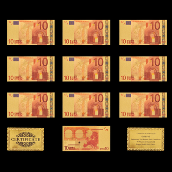 10PCS Banknote Lot Euro 10 Gold Paper Money Pure 24k Gold Banknote Note недорого