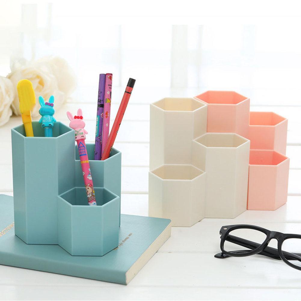 Neue Hexagon ABS Tisch Veranstalter Make Up Kosmetische Halter Schreibtisch Stift Bleistift Lagerung Box Fall-in Stifthalter aus Büro- und Schulmaterial bei title=