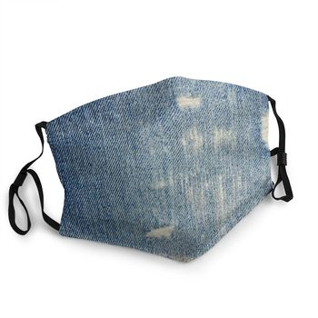 Denim Blue Jeans Unisex Non-Disposable Face Mask Vintage Cool Faded Anti Haze Dustproof Protection Cover Respirator Mouth Muffle