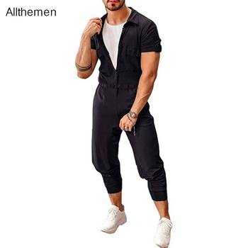 Allthemen Fashion Men Overalls Jumpsuits Solid Joggers  Rompers Street Style Casual Pants Summer For
