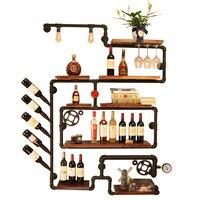 Nordic Artistic Wine Rack Set Wall Mounted Shelves For Glassware Creative Bottle Wine Glass Holder Stojak Na Wino Vinos Cheap