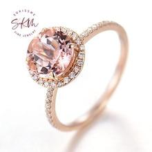 SKM 14k 18k rose gold Morganite rings for women with diamond Engagement rings designer Anniversary Luxury Fine Jewelry