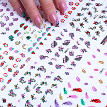 colorful feather nail art accessories 3D Nail Art Stickers Sliders Flowers Leaves Geometry Adhesive Decals Decorations