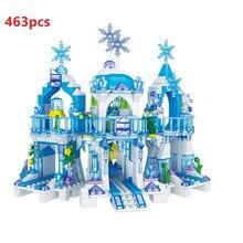 Księżniczka figurki królowa śniegu Model zamku lodowego klocki miasto przyjaciele cegły zabawki dla dzieci edukacyjne zabawki DIY