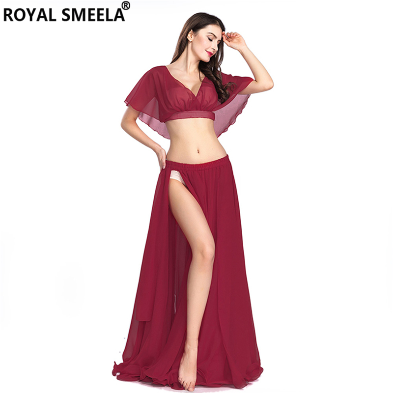Hot Sale Free Shipping New Women's Belly Dance Set Costume Belly Dancing Clothes Sexy Fashion Girl Bellydance Chiffon Top Skirts
