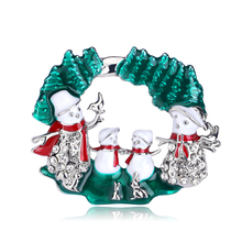 Christmas Tree Brooches for Women Fashion Snowman Brooch Pin Suit Dress Jewelry Accessories Gift