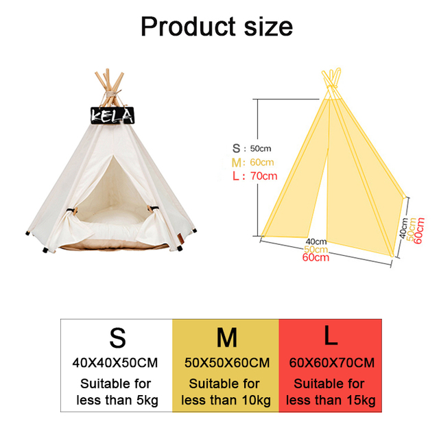Pet Tent House Cat Bed Portable Teepee With Thick Cushion And 6 Colors Available For Dog Puppy Excursion Outdoor Indoor 5