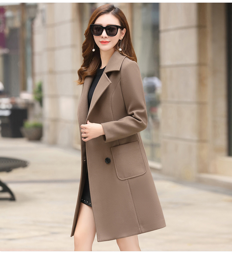 Woolen Women Jacket Coat Long Slim Blend Outerwear 2019 New Autumn Winter Wear Overcoat Female Ladies Wool Coats Jacket Clothes 14