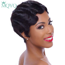 MQYQ Short Finger Wave Wigs Short Ocean Wave Bob Wigs For Woman Short deep wave Wig Brazilian Non Remy Short Human Hair Wigs(China)