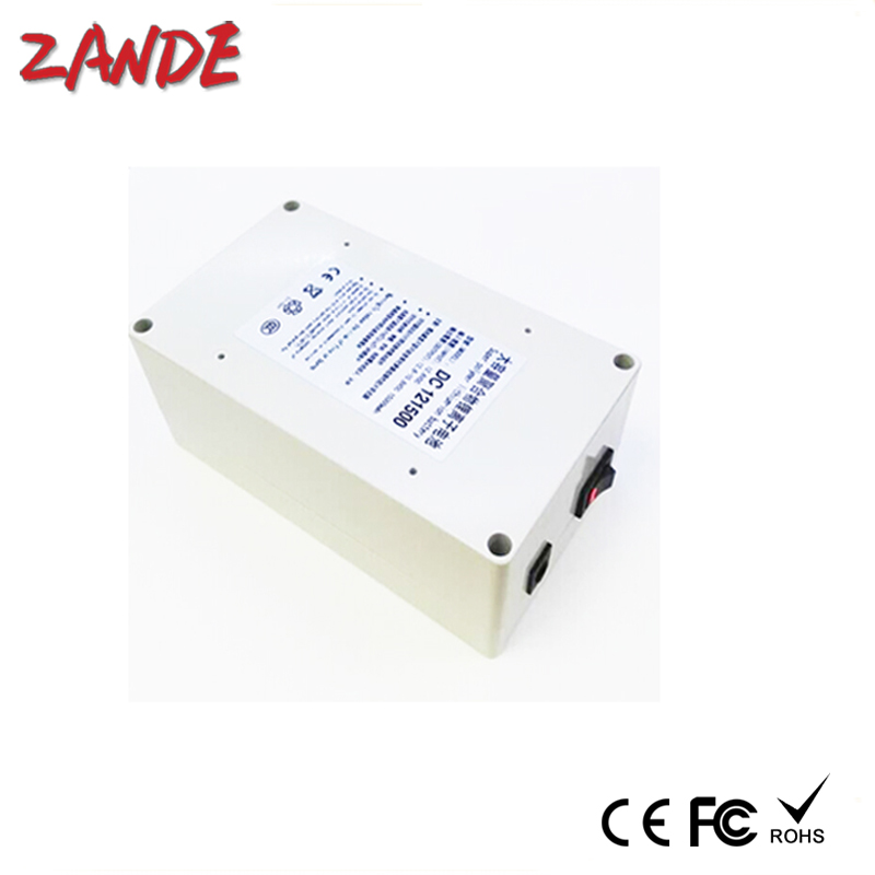 White DC <font><b>12V</b></font> Li-ion Rechargeable <font><b>Battery</b></font> Pack <font><b>15Ah</b></font> Includes AC <font><b>Charger</b></font> - DC Jack Connection for LED Light Strips image