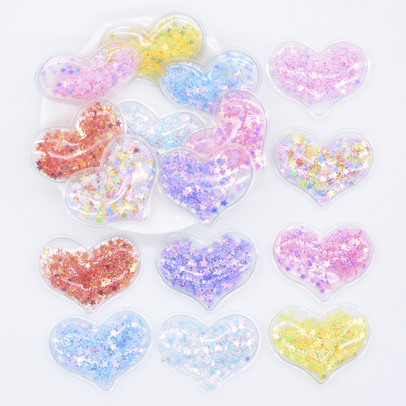 32Pcs 38*30mm Bling Heart Transparent Plastic Filling Sequin Appliques For DIY Headwear Hair Clips Bow Accessories Patches L06
