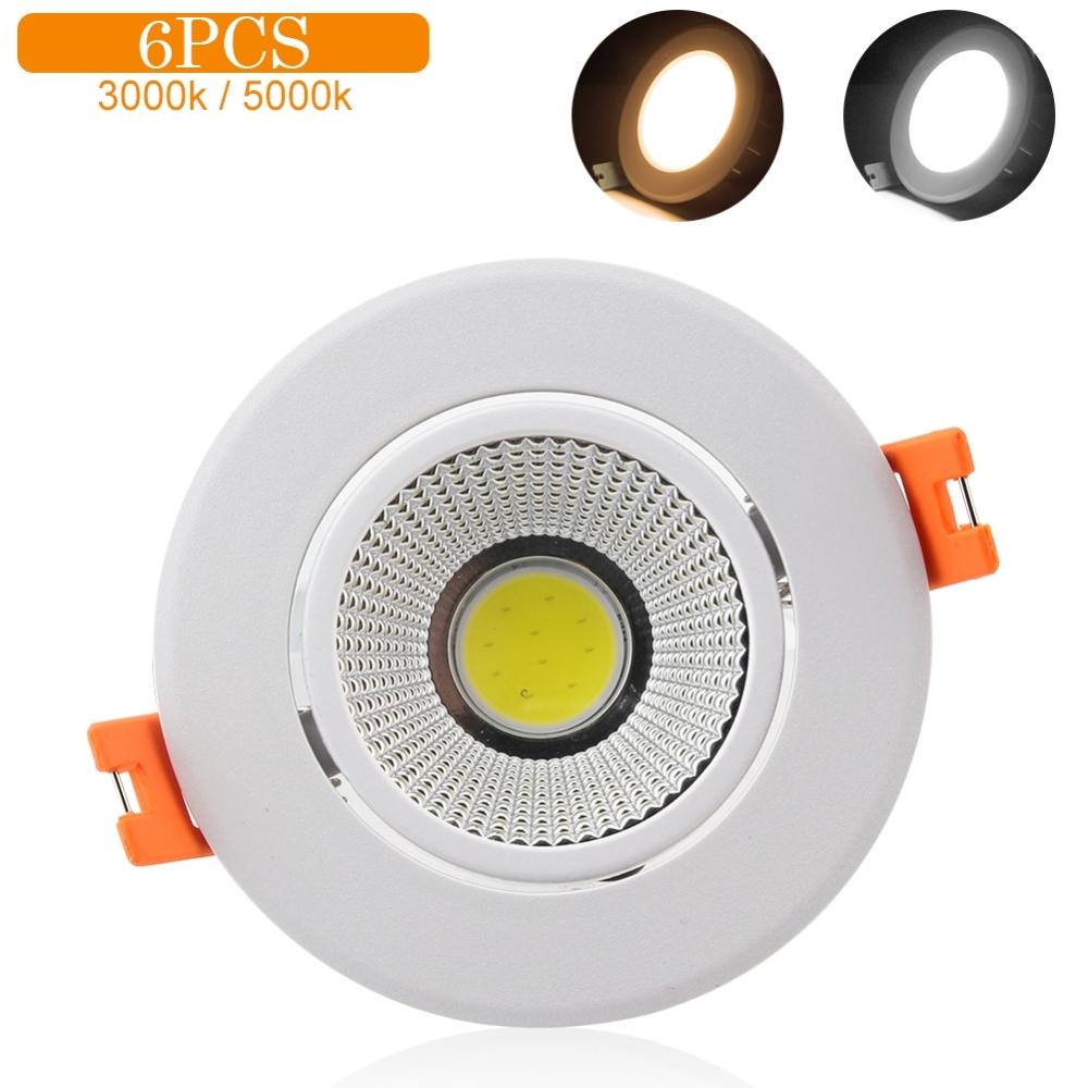 Original 6Pcs 3000K 5000K Warm/Cool COB Ceiling Recessed Spotlight Angle Adjustable Home Decor LED Night Light Lamp