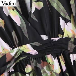 Image 4 - Vadim frauen retro floral print mini kleid v ausschnitt langarm zurück zipper weibliche vintage stilvolle kleider vestidos mujer QD195
