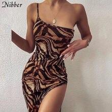 Abito lungo elegante Vintage Nibber per donna estate senza maniche Slim High Street 2021 abito da banchetto Sexy con spacco alto