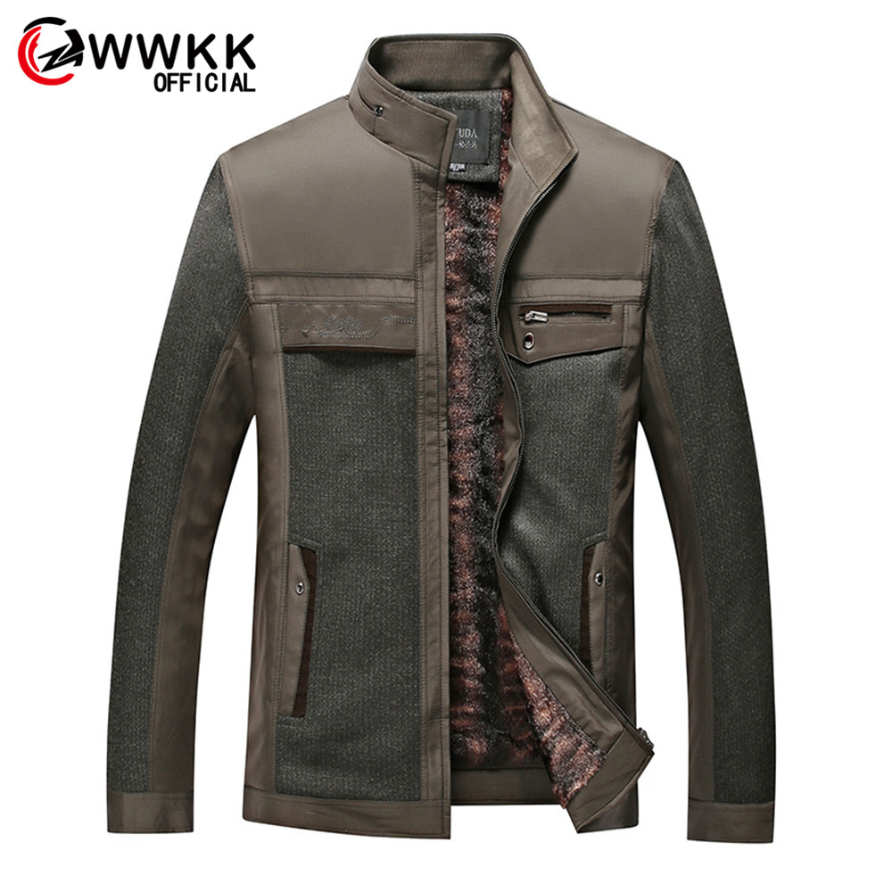 WWKK Men's New Cold Protection Standing Collar Men Plus Velvet Solid Color Jacket Keep Warm Coat Streetwear Jackets Male Fashion