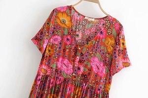 Image 3 - Vintage chique feminino laço up floral impressão praia boêmio maxi vestido senhoras rayon verão boho vestidos