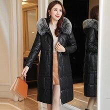 Winter Coat Women Korean Fashion Woman Parkas Cotton-padded Jacket Plus Size XXXL Knee-length Thick Pu Leather Jacekt
