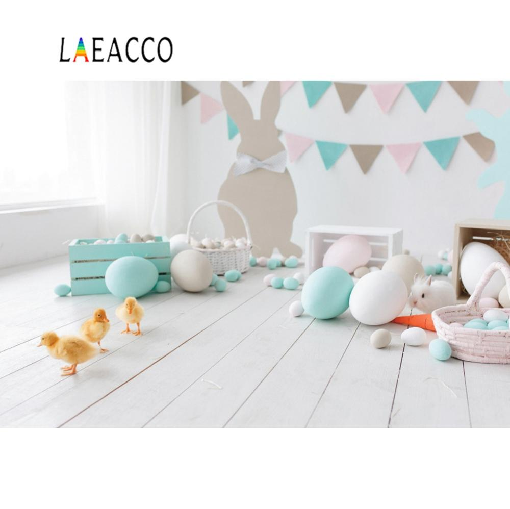 Laeacco Easter Backdrops For Photography Gray Wooden Floor Chicken Eggs Rabbit Baby Newborn Portrait Photo Background Photocall image
