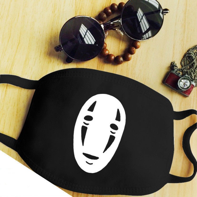 Anti-Dust Mask Mouth Mask Anime 3 Layers Mask Funny Cartoon Pattern Cotton Fabric Cute Black Mouth Mask For Adult Teens Kids
