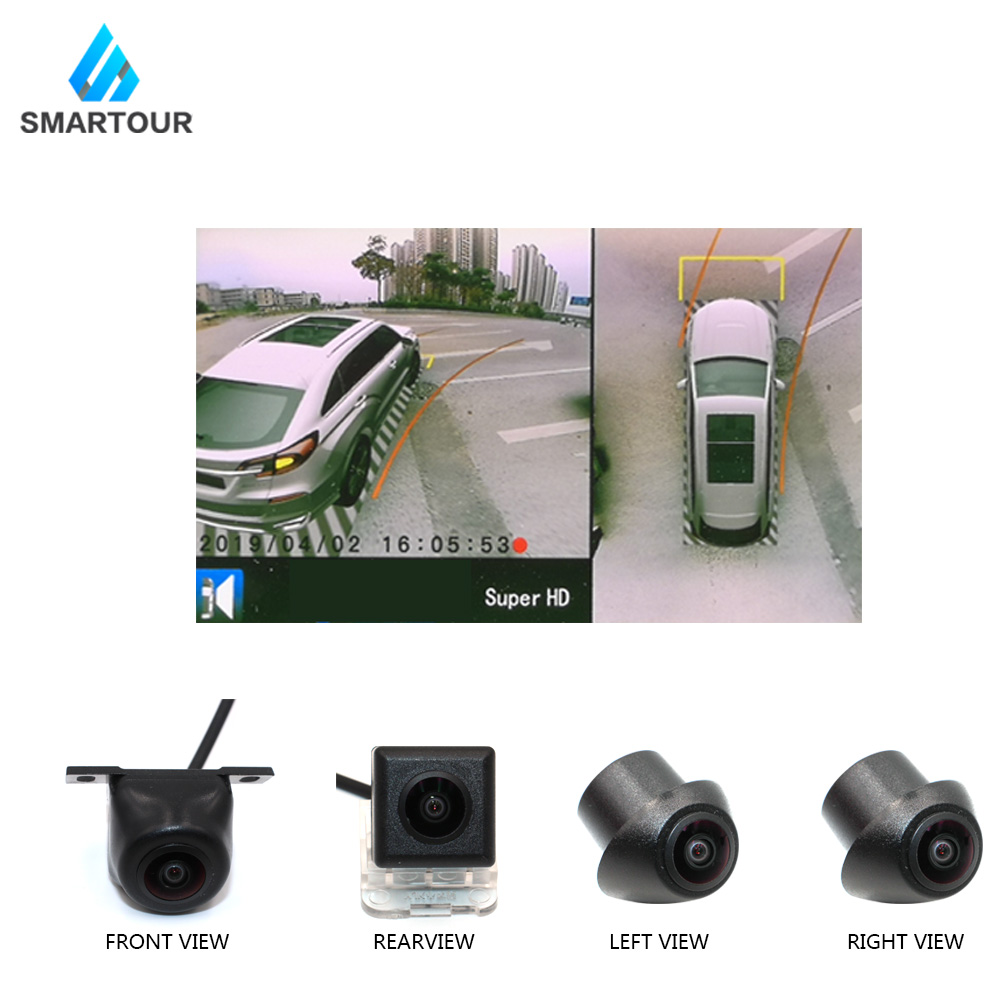 Smartour Newest Car 3D Surround View Monitoring System 360 Degree Driving Bird View Panorama Camera 4CH DVR Recorder With Sensor