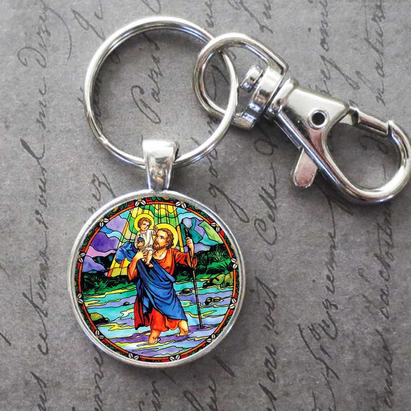 Saint Christopher Key Ring Key Chain จี้หัวเข็มขัดวันเกิดครบรอบของขวัญเครื่องประดับ