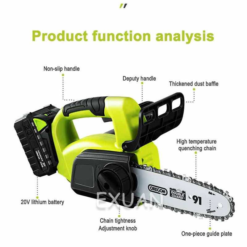 home improvement : Cordless electric chain saw household logging saw chainsaw handheld small tree felling lithium battery outdoor mini portable
