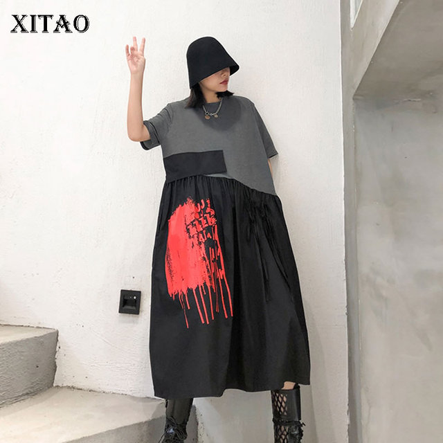 XITAO Niche Design A Line Loose Plus Size Patchwork Bow Fashion Casual Personality 2020 Spring Summer New Women Dress GCC3514 1