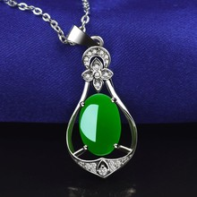 Natural Green Jade Chalcedony Water Drop Agate Pendant 925 Silver Necklace Chinese Carved Fashion Charm Jewelry Amulet for Women natural green jade pendant dragon phoenix 925 silver necklace chinese carved fashion charm jewelry amulet for men women gifts
