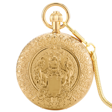 Luxury Golden Double Open Automatic Mechanical Pocket Watch Silver Digital Dial Exquisitely Carved Practical Pendant Gift Women
